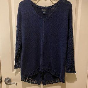 Lucky Brand▪️Navy V Neck Crochet Sweater Hi Low Button Back Slub Knit Sweater